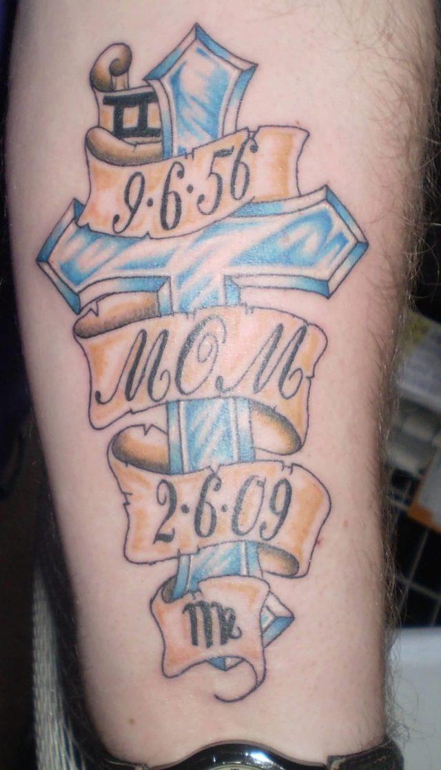 Cross Memorial Tattoo For Mom On Forearm
