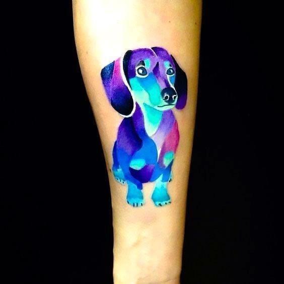 Cute Colorful Dachshund Dog Memorial Tattoo Idea