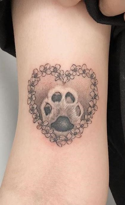 Dog Paw Tattoo with Heart 02