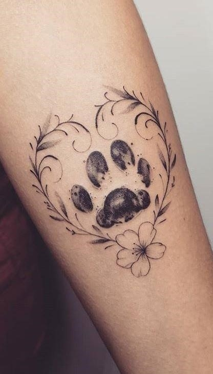 Dog Paw Tattoo with Heart 03