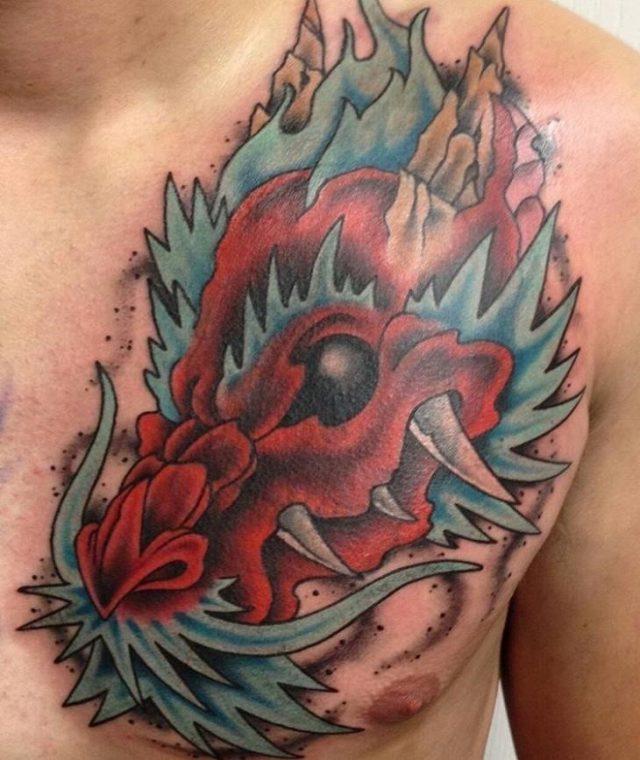 Dragon Chest Shoulder Tattoo