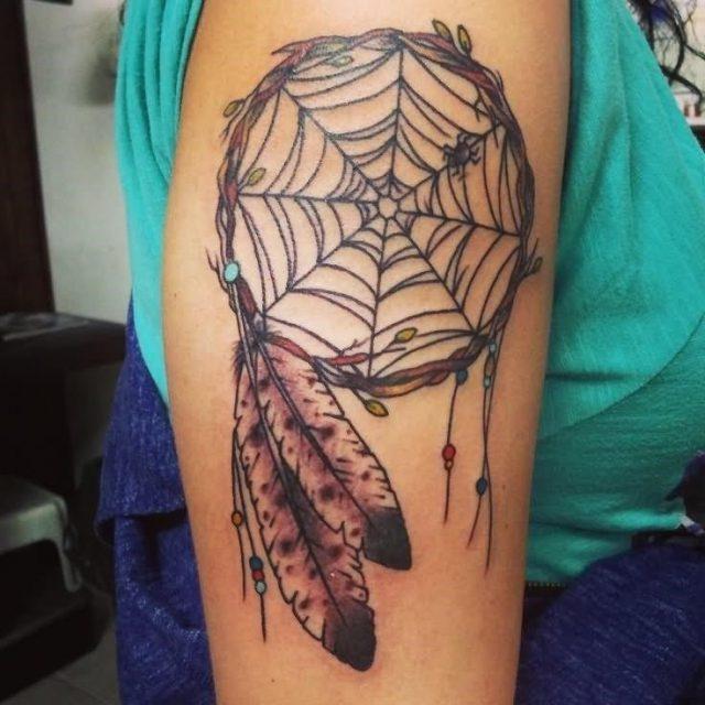 Dreamcatcher Tattoo On Girl Right Half Sleeve