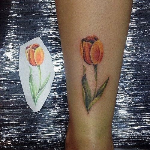 Dutch Tulip Tattoo On Side Leg