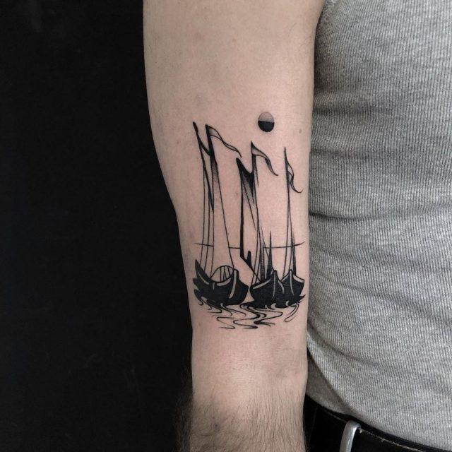 Dutch ships tattoo by @straydogsociety