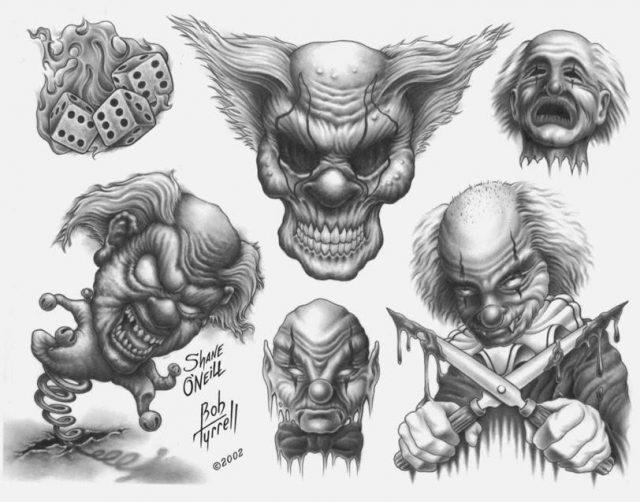 Evil Clown Tattoo Designs Flash