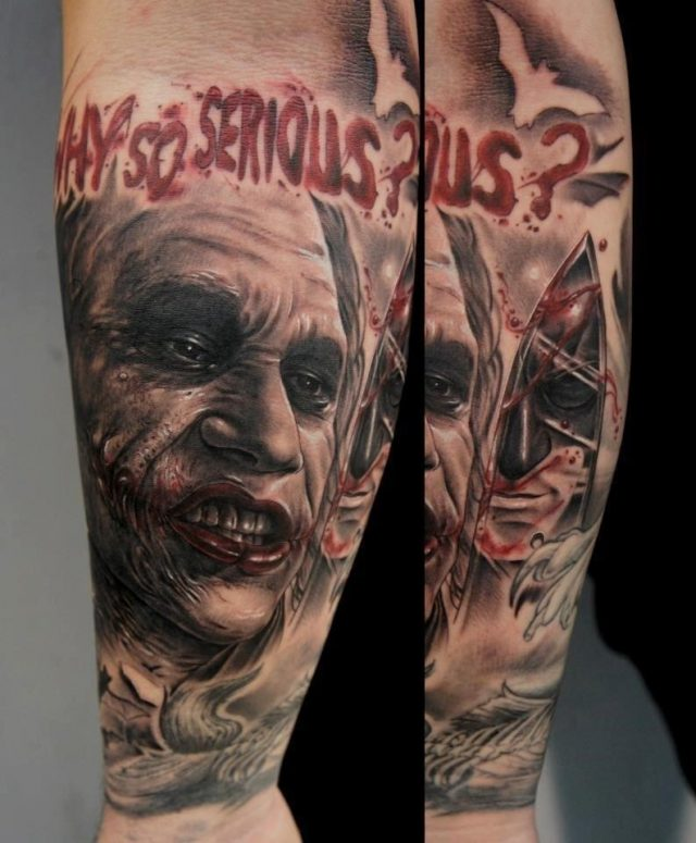 Evil Joker Face Portrait Tattoo On Forearm By Fredy