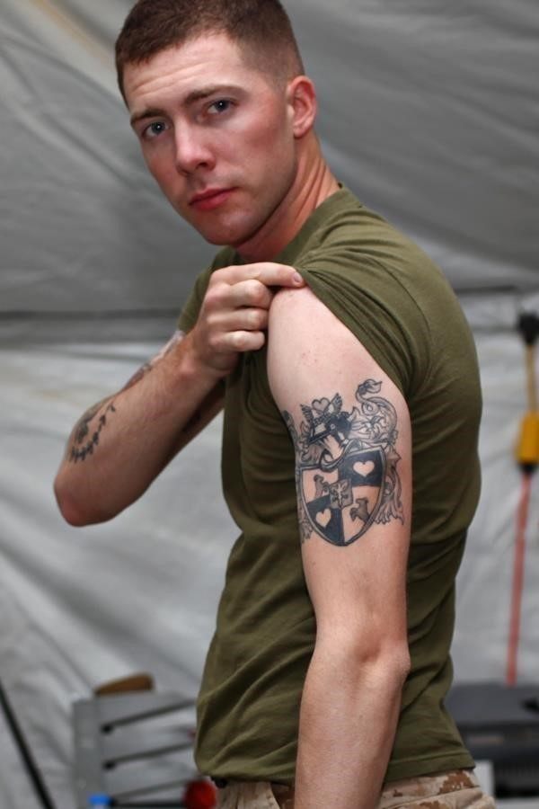 Family Crest Tattoo On Bicep
