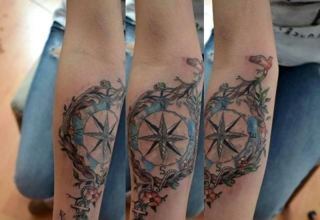 Fantastic Compass Tattoo Design On Elbow TD2467