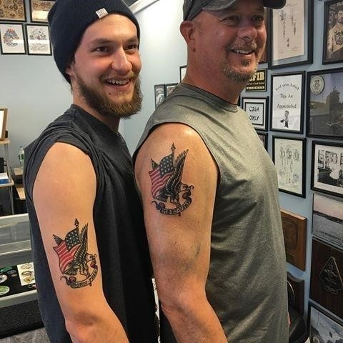 Father and Son Matching Tattoos Photo