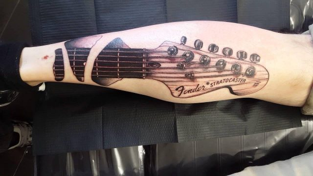 Fender Stratocaster guitar tattoo