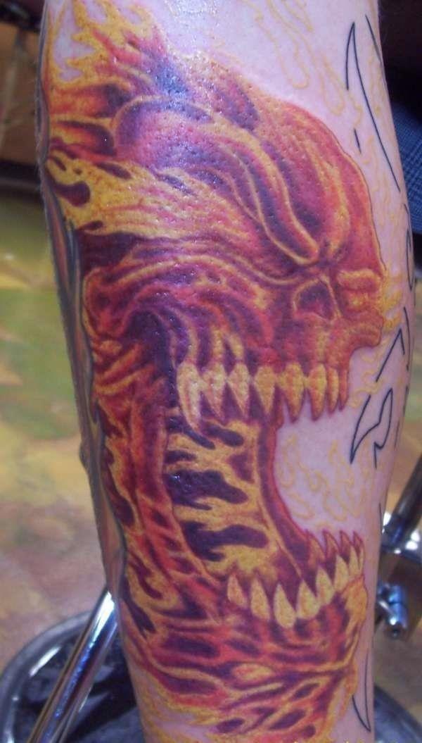 Fire Skull Tattoo