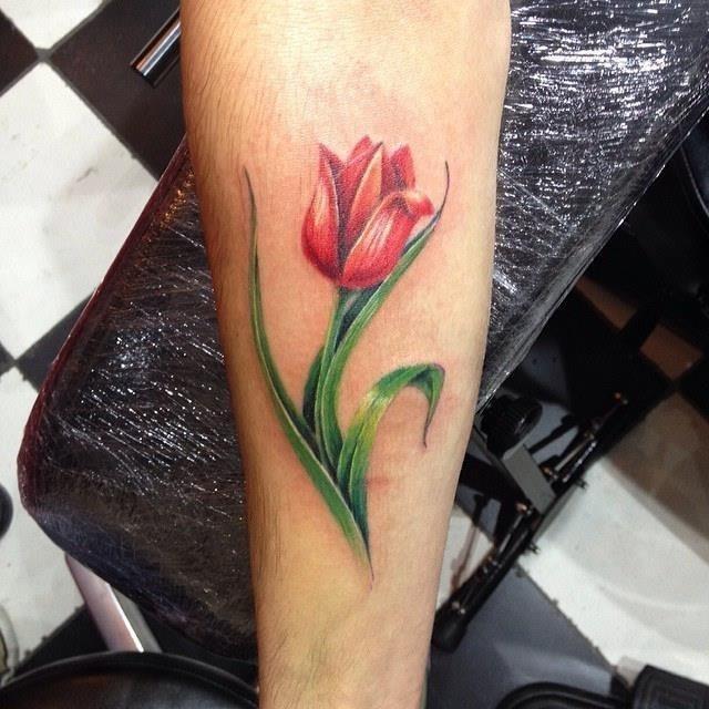 Forearm Dutch Tulip Tattoo Idea