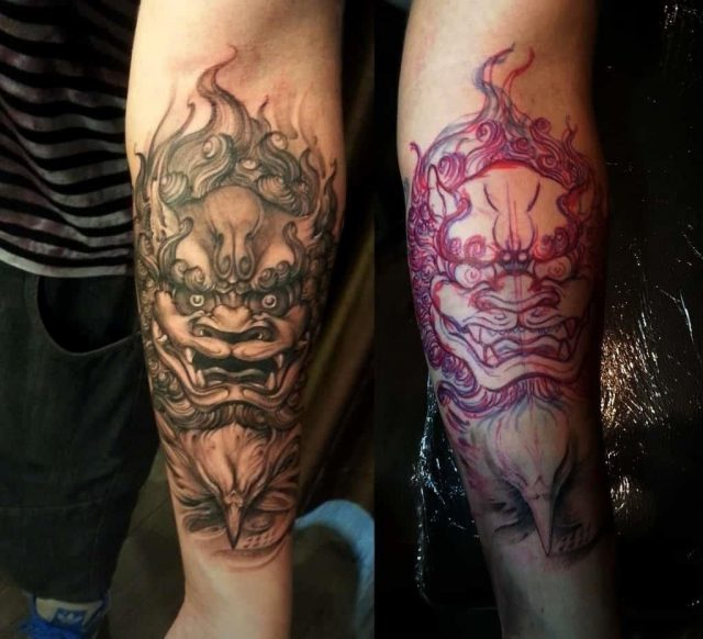 Forearm black and grey Foo Dog tattoo  1024×931