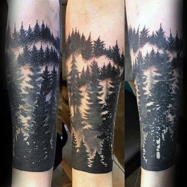 Forest Forearm Tattoo Design Idea for Men