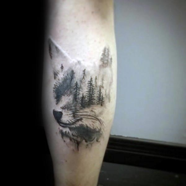 Forest Trees Tattoo in the Shape of a Wolf