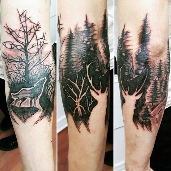 Forest and Deer Tattoo Black and White