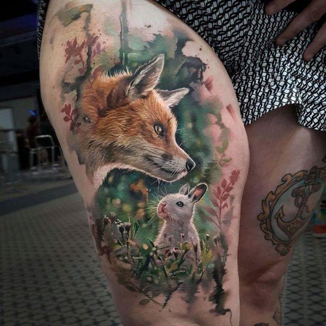 Fox Rabbit Tattoo