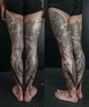 Full Leg Tattoos by Maxime Buchi 305×369