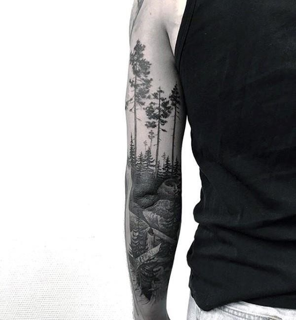 Full Sleeve Back of Elbow Forest Path Tattoo