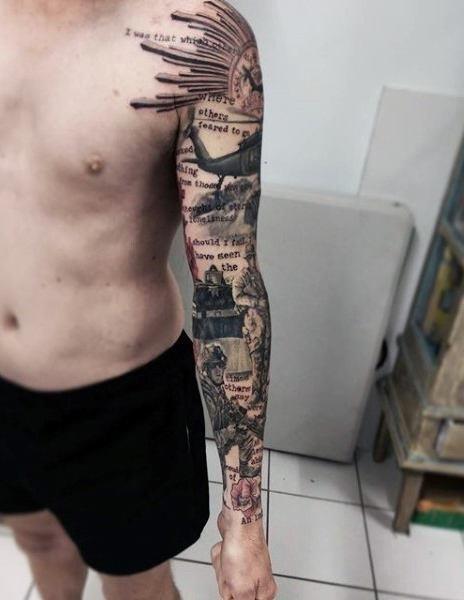 Full Sleeve Tattoo Masterpiece of Military Themed Scenes
