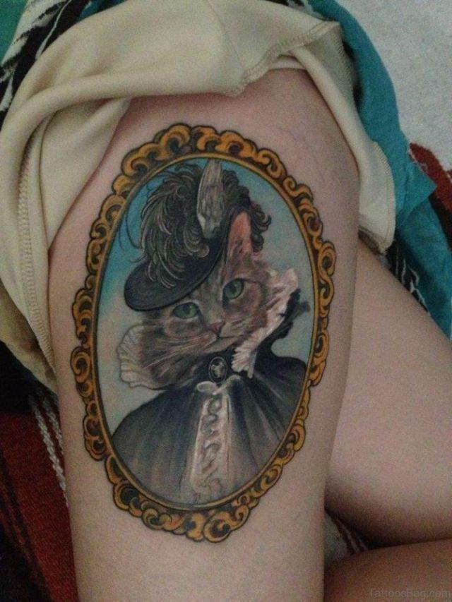 Funny Cat Portrait Tattoo
