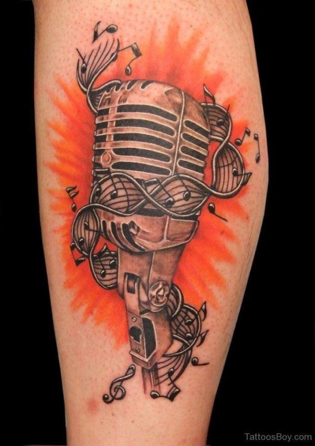 Funny Mic Tattoo On Arm Tb1104
