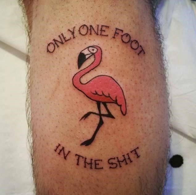 Funny Small Flamingo Tattoo By Pat