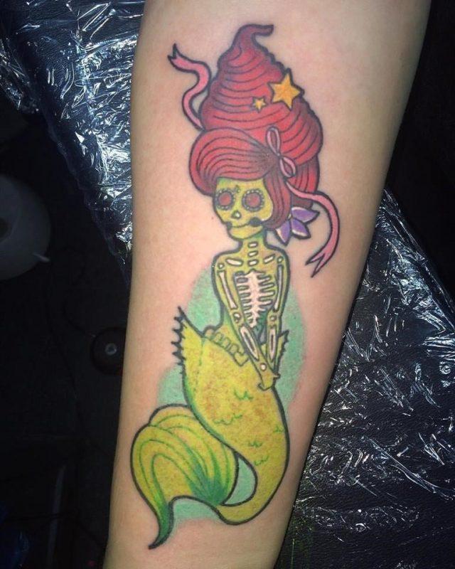 Funny Zombie Mermaid Tattoo