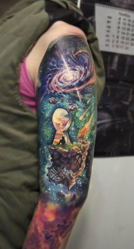 Galaxy and space Tattoo full sleeve 07