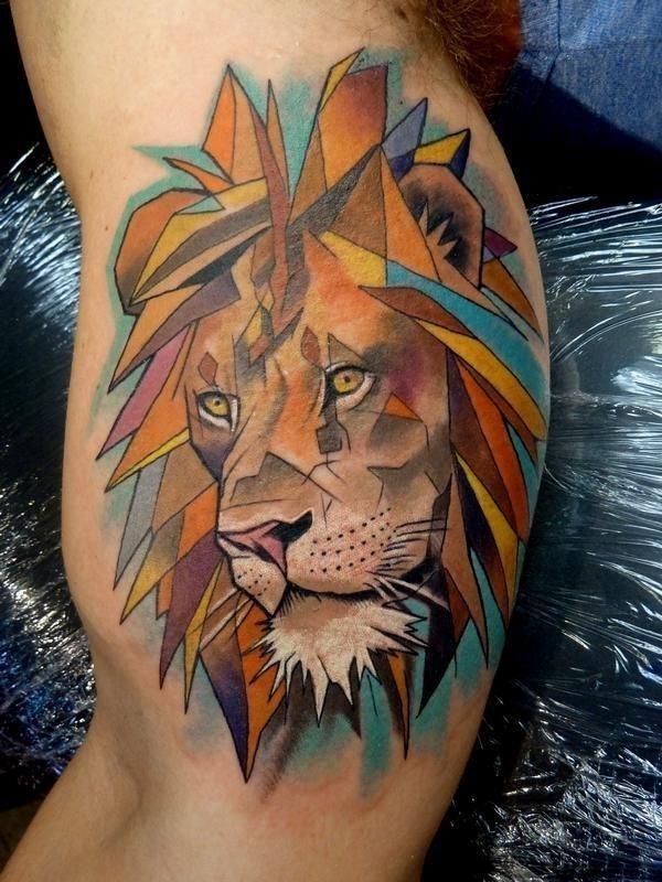 Geometric Lion Tattoo Idea