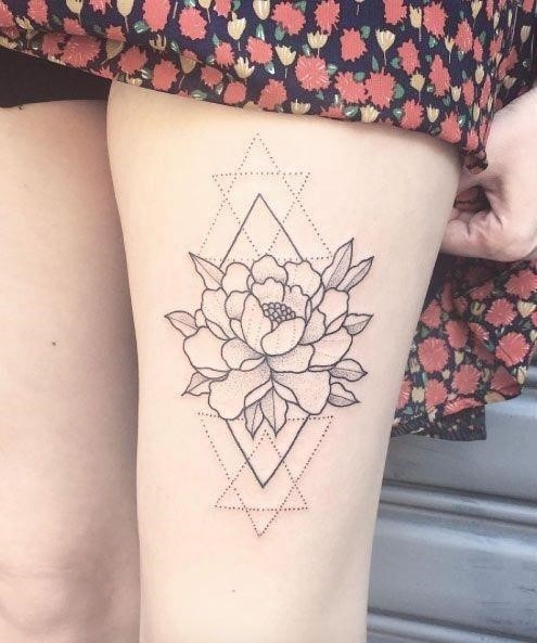 Geometric Rose Thigh Tattoo