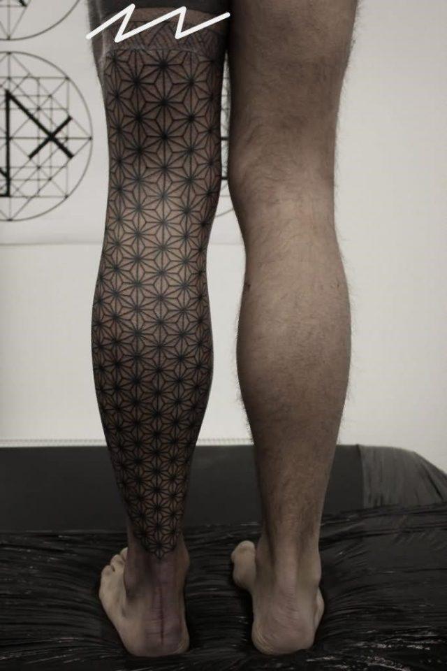 Geometric Tattoo On Left Full Leg