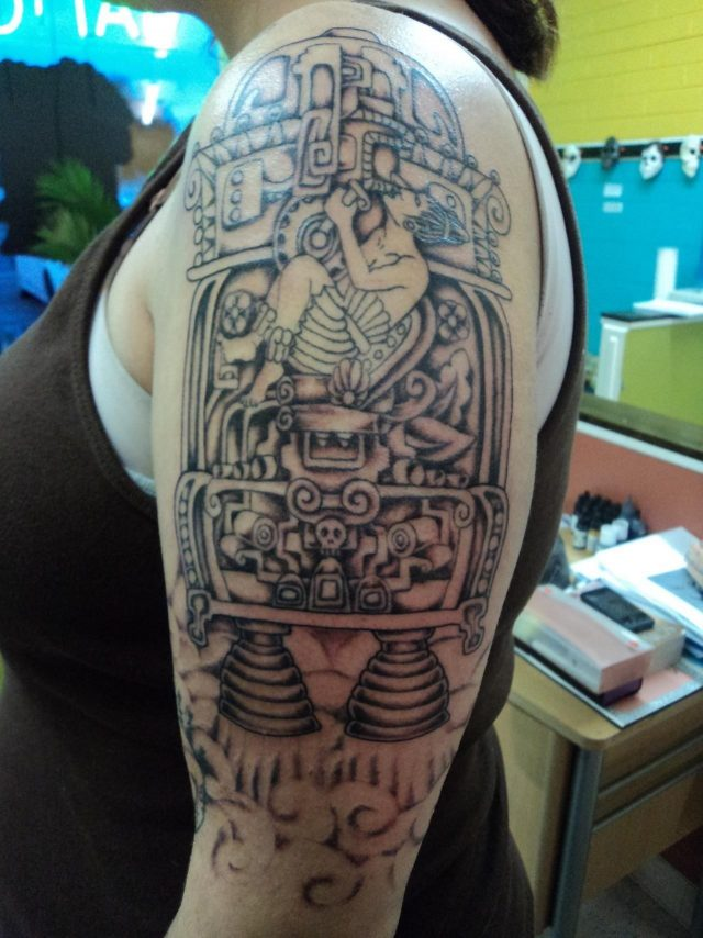 Girl Left Half Sleeve Ancient Alien Tattoo