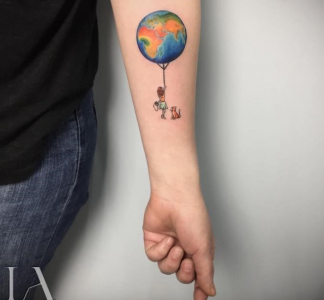 Girl With World Tattoo