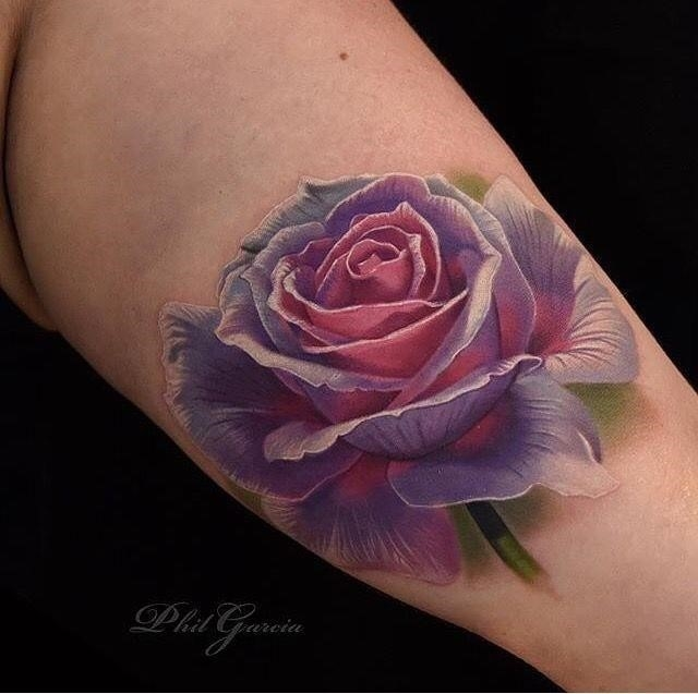 Gradient Roses Arm Tattoo