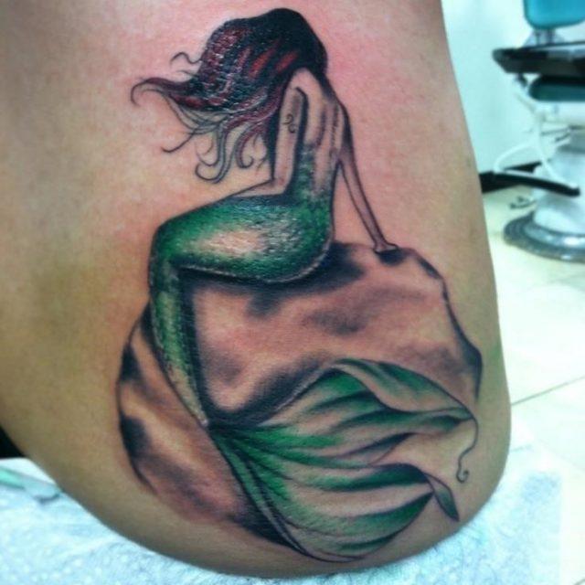 Green Mermaid Tattoo On Hip
