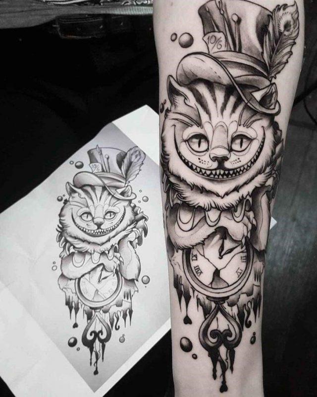 Grey Cheshire Cat Tattoo by Tattoo Mauritz 728×910
