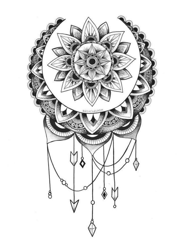 Grey Ink Mandala Tattoo Design