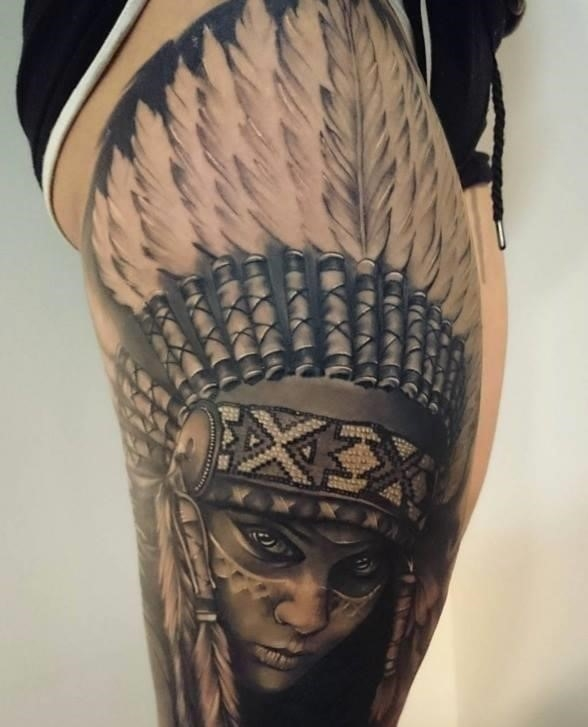 Grey Ink Native American Tattoo On Thigh