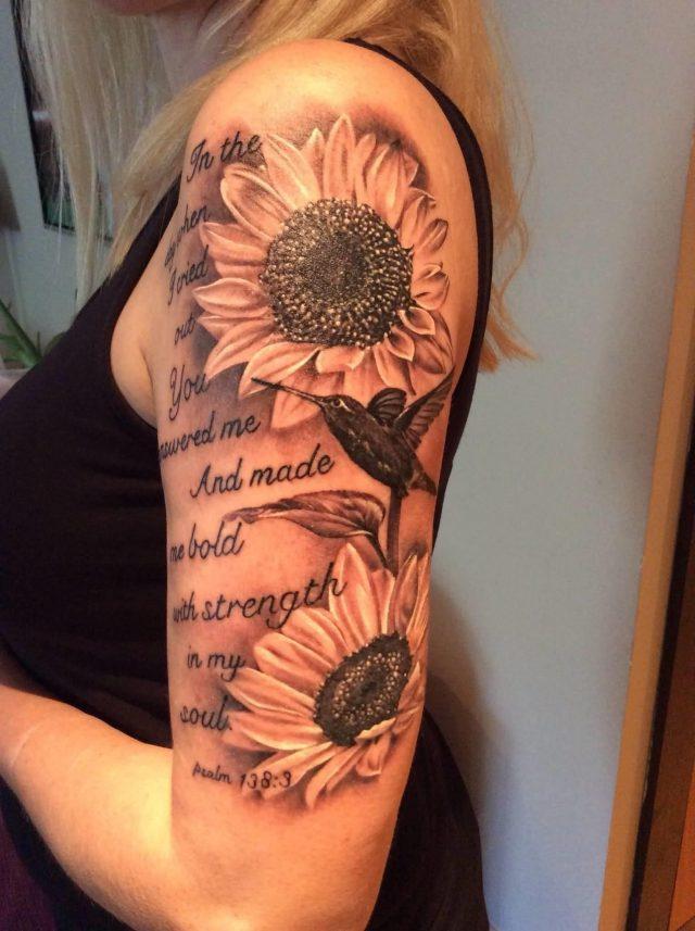 Grey Ink Sunflower Tattoo On Girl Half Sleeve