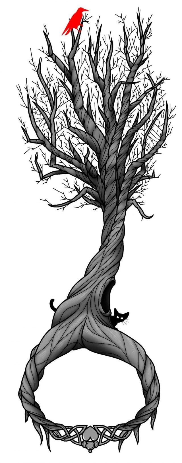 Grey Ink Tree Of Life Tattoo Design By Werewolf9595