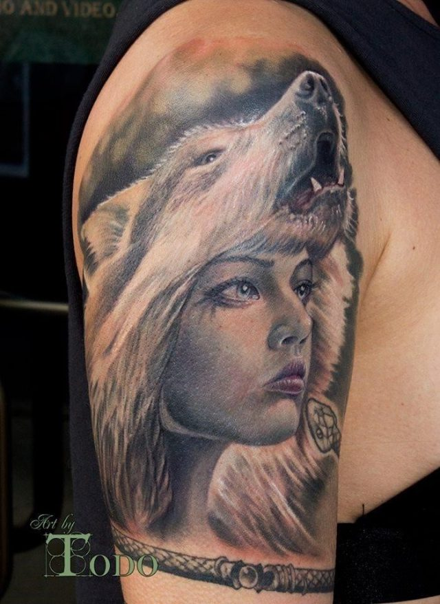 Grey Ink Wolf Girl Tattoo On Half Sleeve by Todo
