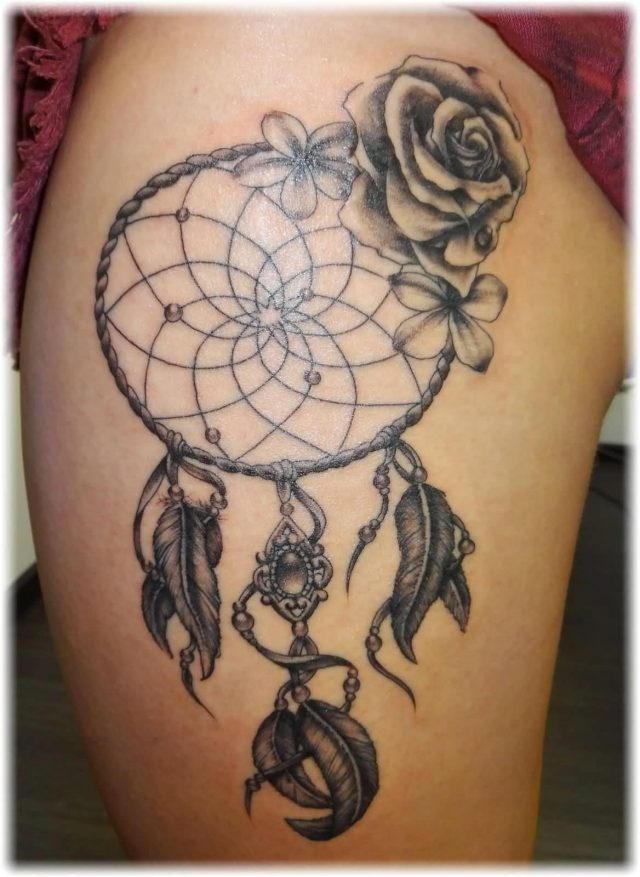 Grey Rose Dreamcatcher Tattoo On Side Thigh