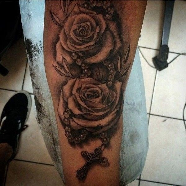 Grey Roses And Rosary Cross Tattoo