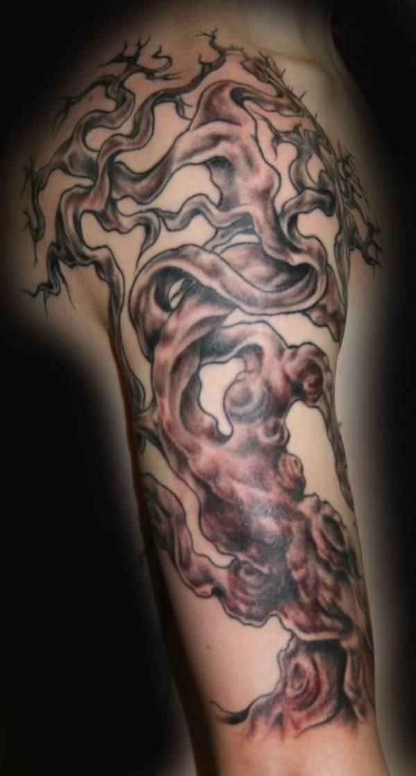 Grey Tree Of Life Tattoo On Arm