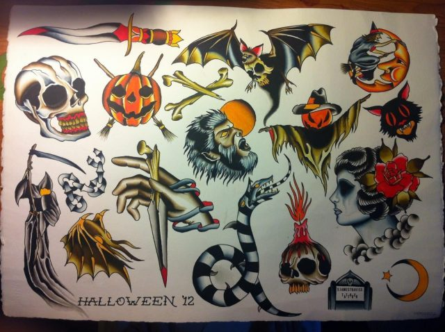 Halloween Traditional Tattoo Flash1
