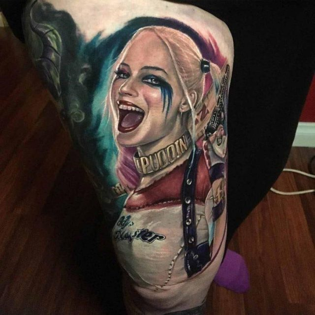 Harley Quinn Tattoo on Thigh by Andrew Smith 1 728×728