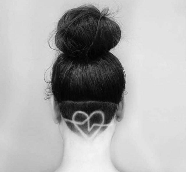 Heart Shaped Undercut Hair Tattoo Art