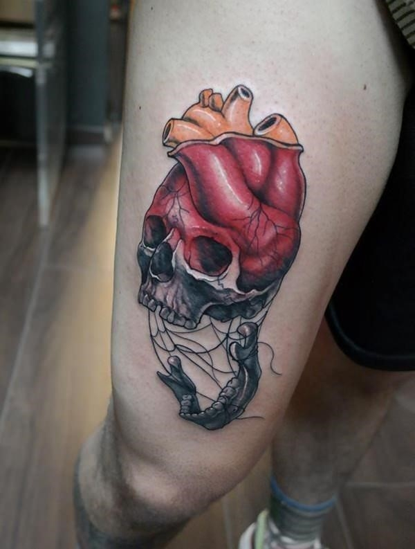 Heart Skull Thigh Tattoo