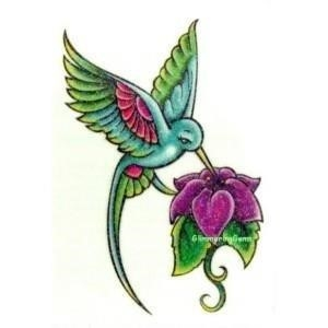 Hummingbird Tattoo Design With Flower